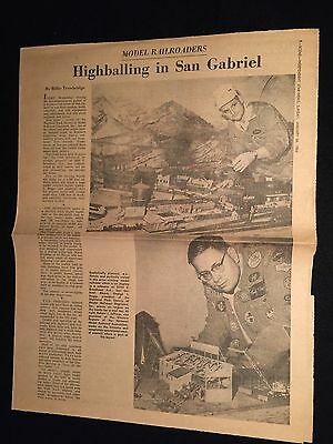 c.1964 PASADENA STAR NEWS ARTICLE Highballing In San Gabriel MODEL RAILROADERS