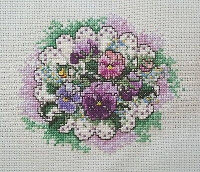 Finished Handmade Cross Stitch Purple Pink Pansies Flowers Unframed Completed