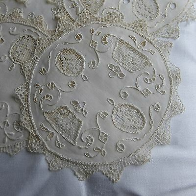 12 VINTAGE Embroidered Crocheted LACE COCKTAIL GOBLET ROUNDS COASTERS DOILIES
