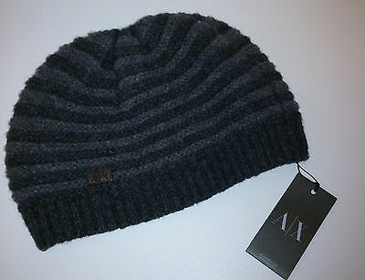 Armani Exchange A/x Mens Gray Wool Beanie Hat - 100% Authentic - New With Tags !