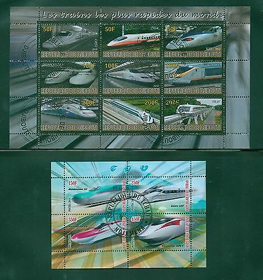 Speed Trains Locomotives 2 different souvenir sheets, Railways, 13 stamps