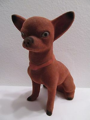 Vintage Ceramic Flocked Chihuahua Dog Coin Piggy Bank Large Figurine