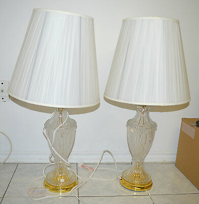 Vintage Pair of Crystal Clear Cut Glass 24% Lead Crystal Table Lamps Made Poland