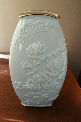 "Lenox Vase  Ivory and Gold Trim  Rose Design 8"" Tall"