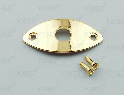 Guitar oval jack plate HJ003, Gold with screws