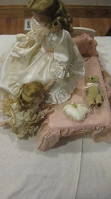 Rare Bedtime Porcelain Doll Set By Lia Dileo Mother & Daughter Gorham Exclusive