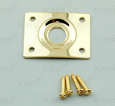 Guitar square jack plate HJ005, gold with screws