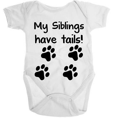 My Siblings Have Tails Organic Onesie Baby Romper Shower Gift Infant Toddler New