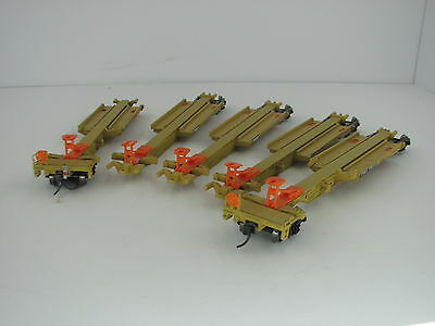 Walthers Goldline HO 48' spine car set TTX x 5 with EOT Attached