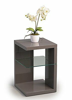 HomeTrends4You 516653 Table d'appoint blanc brillant 40 x 60 x 40 cm, anthracite