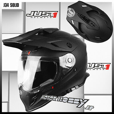 6908d3d2 Casco Moto Enduro Naked Motard Just1 J34 Solid Black Matt Taglia S (55 - 56