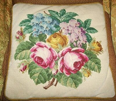 Vintage Hand Stitched Needlepoint Tapestry Floral Flowers Roses Cushion