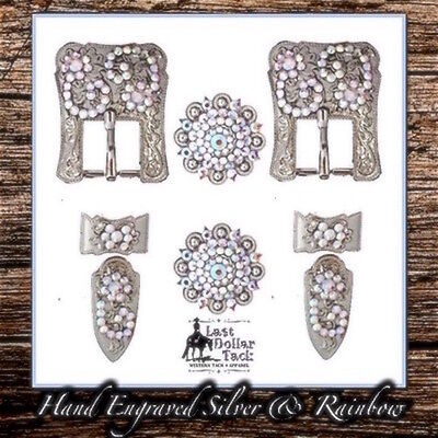 Hand Engraved German Silver & Rainbow Crystal Buckle Set For Western Headstall