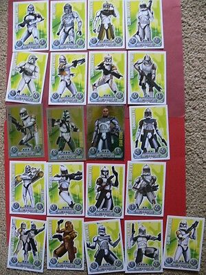 Topps Force Attax Star Wars Trading Cards. Blue Backs. 21 Clone Troopers. 3 Foil