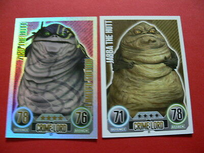 Topps Force Attax Star Wars Trading Cards. Blue. 2 Crime Lord Cards. 1 Foil