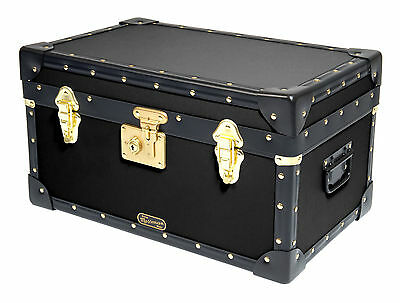 BLACK Traditional British Mossman Made Boarding School Tuck Box Storage Trunks