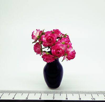 1:12 Scale Pink Roses In A Vase Doll House Miniatures Flowers  Accessory (S1)