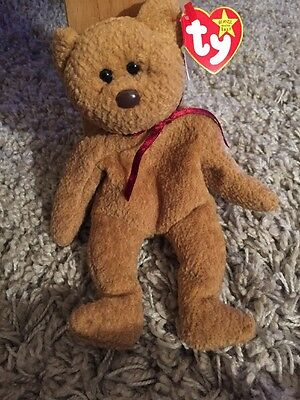 Ty Curly Beanie Baby Bear Mint **rare With Errors**