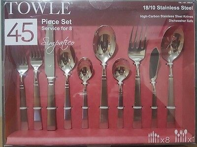 Towle Simpatico 18/10 SS Flatware Set 45Pcs Cutlery Forks Spoons Knives 8 person