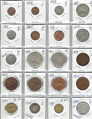 AUSTRALIA lot of 20 Diffrent Coins - 2 Silver Coins - Kangaroos