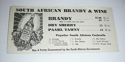 vintage SOUTH AFRICAN BRANDY ad blotter paarl tawny wine cocktail early cent