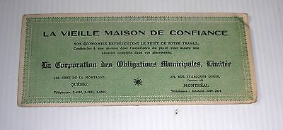 CORPORATION OBLIGATIONS MUNICIPALES ad blotter Canada vintage banking french