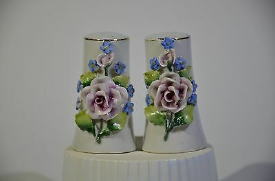 Antique German Porcelain Flowers decorated Pair of Salt & Pepper Shakers Vintage