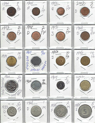 GERMANY Lot of 20 Different Coins - 2 Not Geld