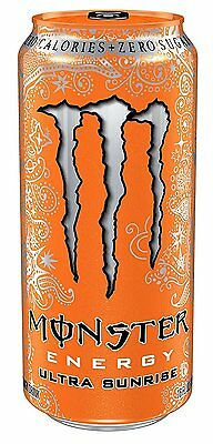 Monster Energy Drink, Ultra Sunrise, 16 Ounce Pack of 24, New, Free Shipping