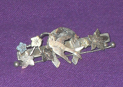 Victorian 1900 Solid Sterling Silver Open Abstract Sweetheart Brooch Pin Antique
