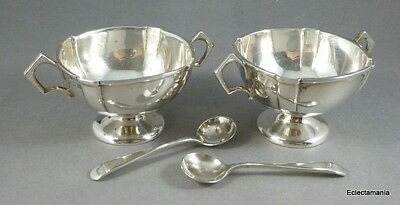 William Hutton Hallmarked English Silver Pair Salts with Spoons - B'ham 1908/09