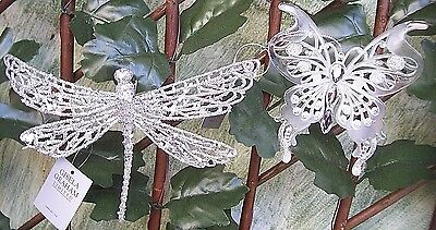 Gisela Graham Silver Glitter & Diamante Butterfly Dragonfly Clip-On Decoration