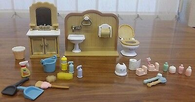 Sylvanian Families Bathroom and Cleaning Furniture Bundle - Lots of Accessories!