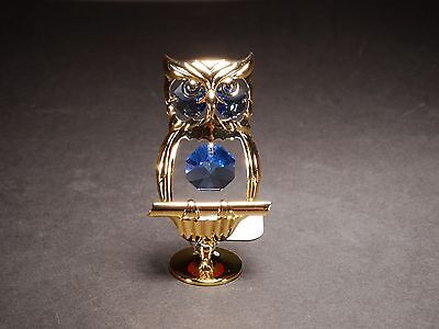 24K Gold Plated OWL Ornament Made with Genuine STRASS Swarovski Crystal Gift