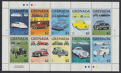 XG-AD183 GRENADA IND - Cars, 1988 Classic Automobiles, Sheet Of 10 MNH
