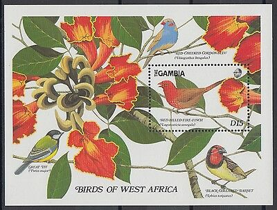 XG-AE089 GAMBIA IND - Birds, 1989 Trees, Flowers, Nature MNH Sheet