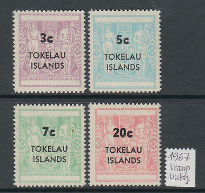 XG-T997 TOKELAU ISLANDS - Set, 1967 Stamp Duty Overprints MNH
