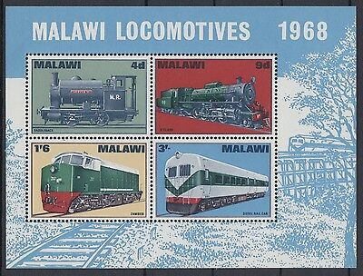 XG-AD448 MALAWI - Trains, 1968 Railways, Locomotives MNH Sheet