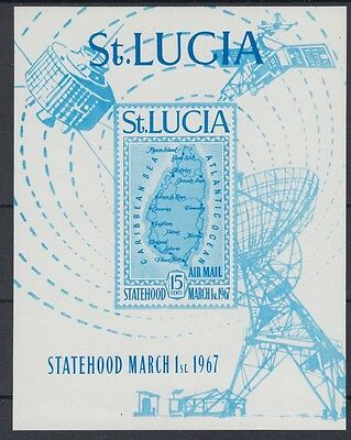 XG-AE579 ST LUCIA IND - Maps, 1967 Telecommunications, Imperf. MNH Sheet