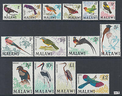 XG-L787 MALAWI - Birds, 1968 Definitives, 14 Values MNH Set