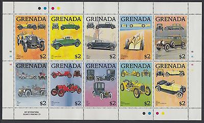 XG-AD182 GRENADA IND - Cars, 1988 Classic Automobiles, Sheet Of 10 MNH