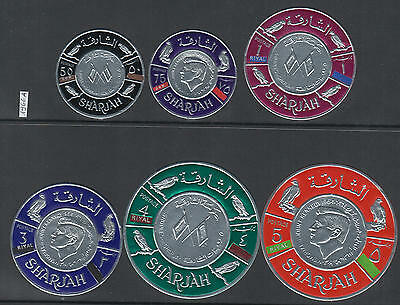 XG-Y391 SHARJAH - Kennedy, 1966 Silver Foil, Round Adhesive Stamps MNH Set