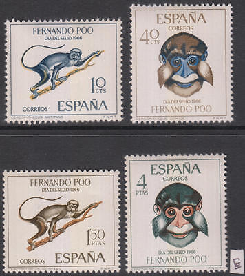 XG-AH201 FERNANDO POO - Wild Animals, 1966 Monkeys, Stamp Day MNH Set