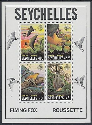 XG-AE593 SEYCHELLES IND - Wild Animals, 1981 Flying Fox, Roussette MNH Sheet