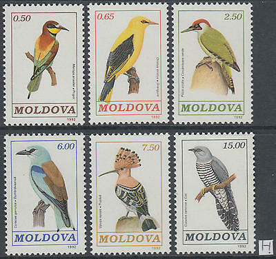 XG-AG808 MOLDOVA - Birds, 1992 Nature, 6 Values MNH Set