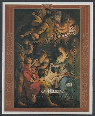 XG-AD636 NIUE IND - Paintings, 1988 Christmas, Rubens, Shepherds MNH Sheet