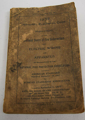 Vintage 1937 National Electrical Code Wiring American Standard Book RARE