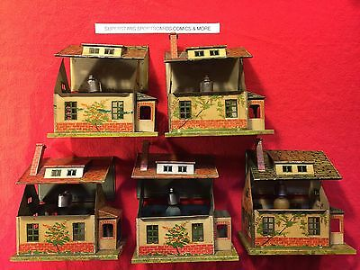 5 Lionel Bungalow Tin Train Accessory Houses Buildings Lot 184 A-1 & 184 - 1 old