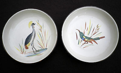 Vintage South Africa Kruger Park Drostdy Hand Painted Pin Dishes Bird Design