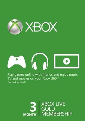 Xbox Live 3 Month Gold Digital Membership Card. Instant Delivery